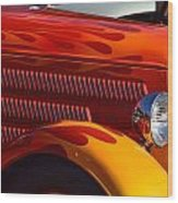 Red Orange And Yellow Hotrod Wood Print
