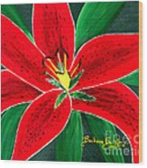 Red Oriental Daylily Wood Print