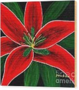 Red Oriental Lily Wood Print