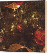 Red Ornament And Gold Ribbon Wood Print