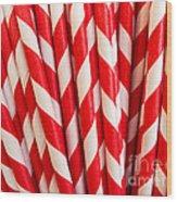 Red Paper Straws Wood Print