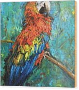 Red Parot Wood Print