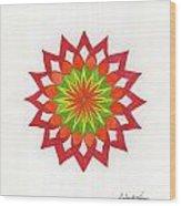 Red Passion Mandala Wood Print