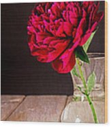 Red Peony Flower Vase Wood Print by Edward Fielding