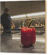 Red Pepper Awaits The Chop Wood Print