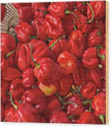 Red Peppers At The Saturday Market, San Wood Print