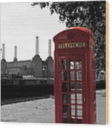 Battersea Power Station And The Red Phone Box Wood Print