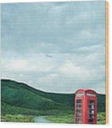 Red Phone Box On Rural Road Wood Print