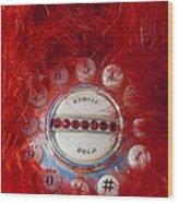 Red Phone For Emergencies Wood Print