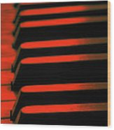 Red Piano Wood Print