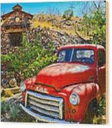 Red Pickup Truck At Santa Fe Wood Print