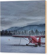 Red Plane In A Gathering Storm Wood Print