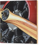 Red Plane With Wood Propeller Wood Print