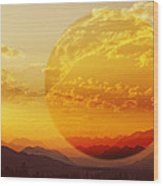 Red Planet Sunset Wood Print