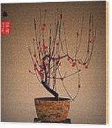 Red Plum Blossoms Wood Print by GuoJun Pan
