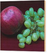 Red Pomegranate And Green Grapes Wood Print
