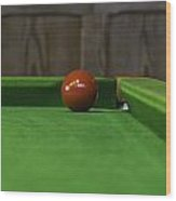 Red Pool Ball On A Pool Table Wood Print