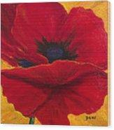 Red Poppi II Wood Print