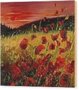 Red Poppies And Sunset Wood Print