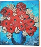 Red Poppies And White Daisies Wood Print