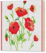 Red Poppies Botanical Design Wood Print