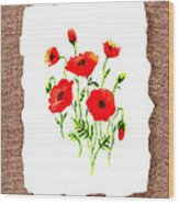 Red Poppies Decorative Collage Wood Print
