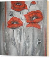 Red Poppies In Silver Dream Wood Print by Elena  Constantinescu