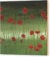 Red Poppies In The Woods Wood Print