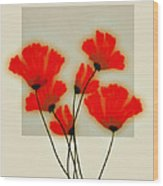 Red Poppies On Gray - Abstract Flower Art Wood Print