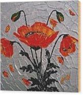 Red Poppies Original Palette Knife Wood Print