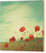 Red Poppy Field With Green Sky Wood Print by Cecilia Brendel