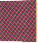 Red Purple And Green Diagonal Plaid Textile Background Wood Print