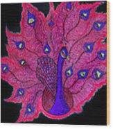 Red - Purple Peacock Wood Print