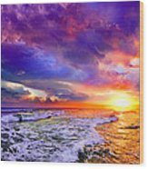 Red Purple Sea Sunset-sun Trail Waves Seascape Wood Print