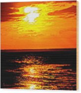 Red Rage Of Dusk Wood Print by Q's House of Art ArtandFinePhotography
