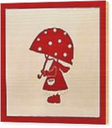 Red Rain Girl Wood Print