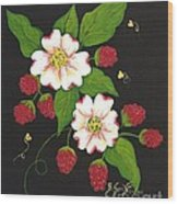 Red Raspberries And Dogwood Flowers Wood Print