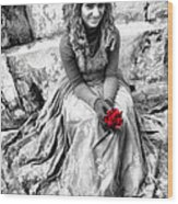 Red Red Rose In Black And White Wood Print