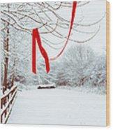 Red Ribbon In Tree Wood Print by Amanda Elwell