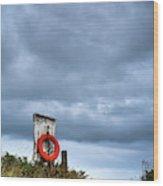 Red Ring Life Preserver Hanging Wood Print