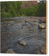 Red River Crossing Under Cathedral Rock Wood Print
