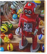 Red Robot And Marbles Wood Print