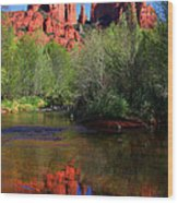 Red Rock Crossing Reflections Wood Print