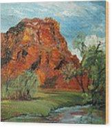 Red Rock Wood Print by Jolyn Kuhn