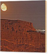 Red Rock Moon Wood Print