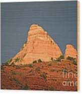 Red Rock Rising Wood Print