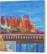 Red Rocks And Railroad Trestle Wood Print