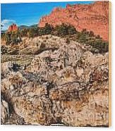 Red Rocks Over White Wood Print