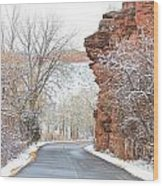 Red Rocks Winter Landscape Drive Wood Print by James BO  Insogna