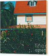 Red Roof Home Wood Print